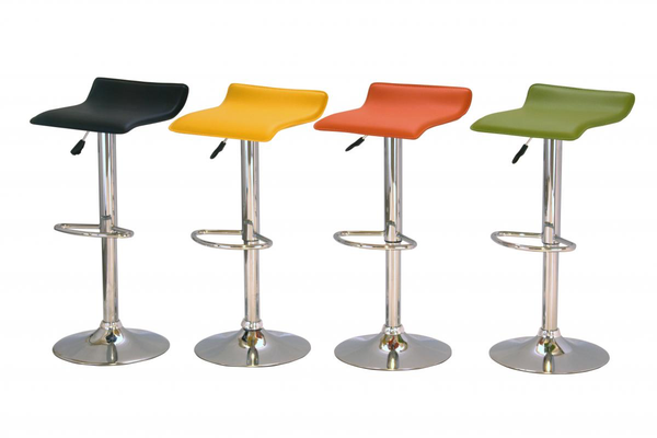 Bar Stool Model 8 in Black PVC Seat and Chrome Base