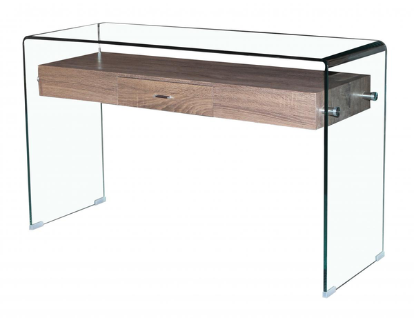 Angola Clear Glass Console Table with Drawer