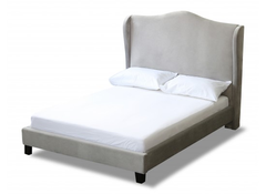 LPD FurnitureChateaux Kingsize Wing Bed in Silver Fabric FinishBlue Ocean Interiors