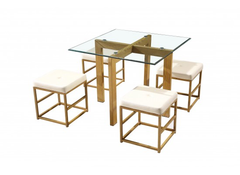 LPD FurnitureCube Dining Set CreamBlue Ocean Interiors