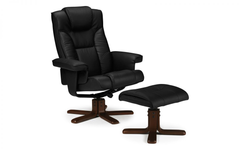 Malmo Recliner and Footstool - Black