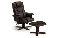 Malmo Massage Recliner and Stool - Brown