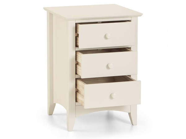 Cameo Stone White 3 Drawer Bedside Chest