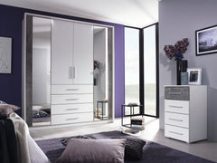 Wesel 4 Door 2 Mirror Wardrobe with 4 Drawers W181cm