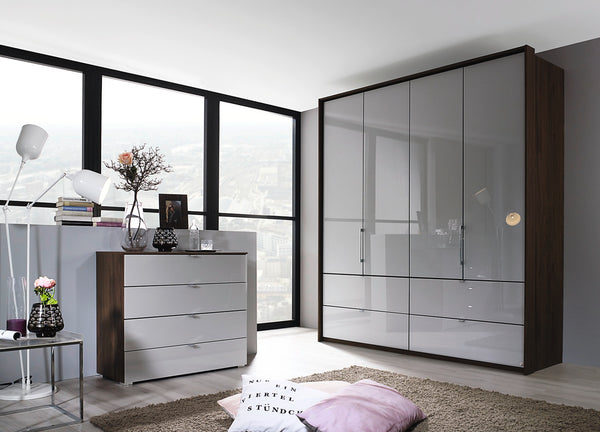 Erimo 5 Door Combi with 6 Drawers in Wood or Glass Doors W257cm
