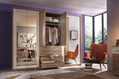 Wesel 5 Door 4 Mirror Wardrobe with 4 Drawers W226cm