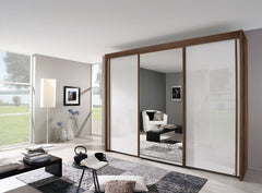 Imperial Sliding Door Wardrobe with High Polish White Doors and Mirror  sliding door wardrobe- Blue Ocean Interiors