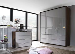 Erimo 4 Door Combi with 4 Drawers Glass Door or Mirror Doors W207cm