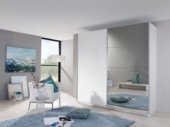 RauchBeluga Plus 2 Door Sliding Wardrobe with 1 Mirror and 1 High Polish DoorBlue Ocean Interiors