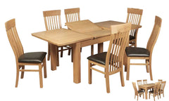 Treviso 140cm Extending Dining Table with 6 Treviso Chairs