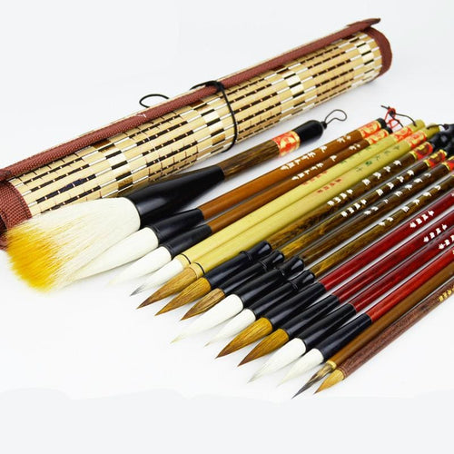 15-Piece Deluxe Calligraphy Brush Set With Rollup Bamboo Holder Brush Set