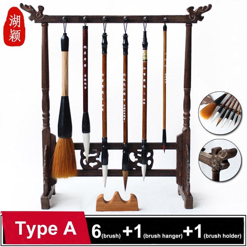 Chinese Calligraphy Weasel And Woolen Set 6-Brushes 1-Brush Hanger And 1-Holder