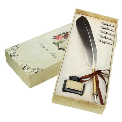 Feather Quill Dip Pen Gift Set 5 Nibs And Ink