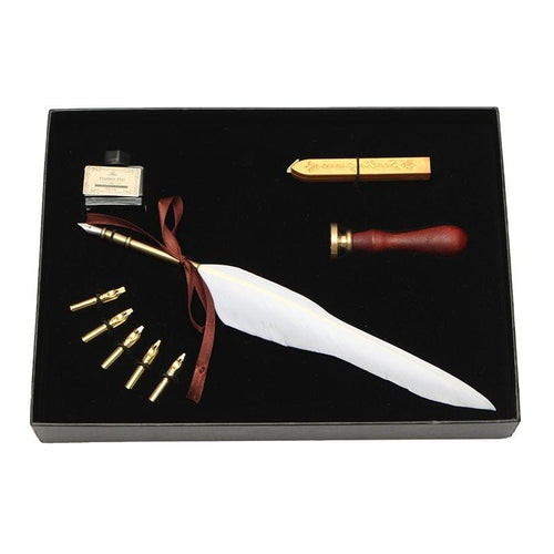 Goose Feather Quill Dip Pen Gift Set Ink Seal Wax 6 Nibs
