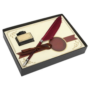 Swan Feather Quill Dip Pen Set - 3 Color Options Wine Red Pen
