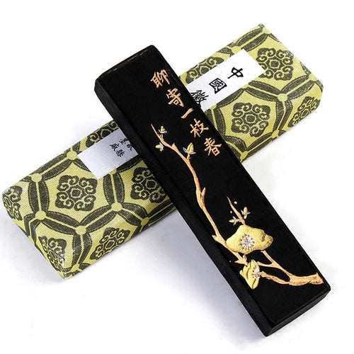 Traditional Chinese Pine Soot Ink Stick - Spring Branch Decoration