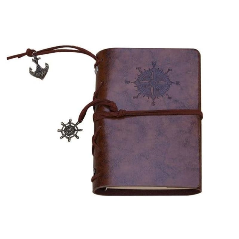 Traveler Pirate Anchor Blank Journal Notebook Pu Leather Brown