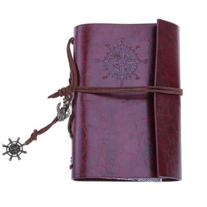 Traveler Pirate Anchor Blank Journal Notebook Pu Leather Reddish Brown