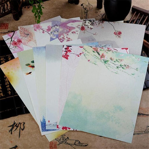 Vintage Chinese Flower Painting Stationery Paper - 12 Designs