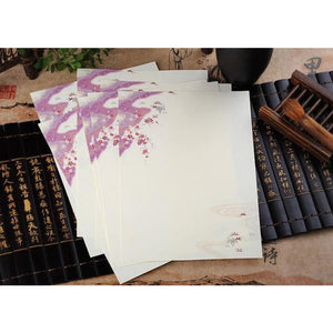 Vintage Chinese Flower Painting Stationery Paper - 12 Designs Design 2