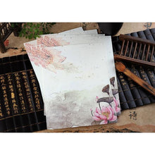 Vintage Chinese Flower Painting Stationery Paper - 12 Designs Design 3