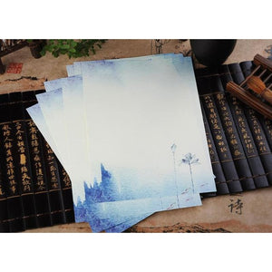 Vintage Chinese Flower Painting Stationery Paper - 12 Designs Design 6