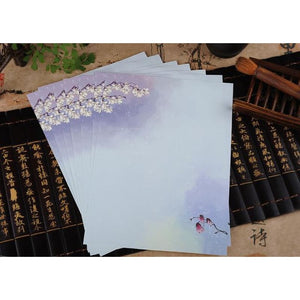 Vintage Chinese Flower Painting Stationery Paper - 12 Designs Design 7