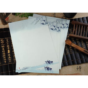 Vintage Chinese Flower Painting Stationery Paper - 12 Designs Design 8