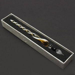 Vintage Handicraft Glass Crystal Signature Fountain Pen Gold