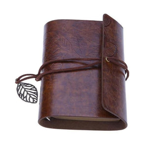 Vintage Leaves Spiral Blank Journal Notebook Leather Cover Brown