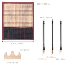 Wolf Hair Chinese Calligraphy 3 Brush Set With Holder And Roll-Up Shade