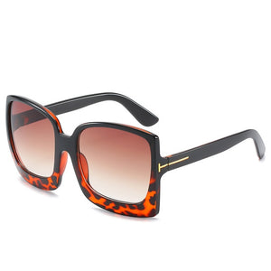 Plastic Female Big Frame Gradient SunGlasses