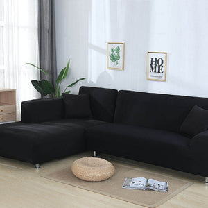 Elastic Sofa Cover Cotton It Needs Order 2 Pieces Covers for L-shape Corner Sectional Sofa Cover for Living Room Solid Color