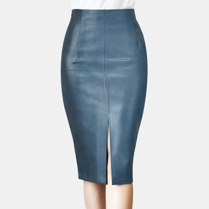 Leather Midi Pencil Skirt for Women