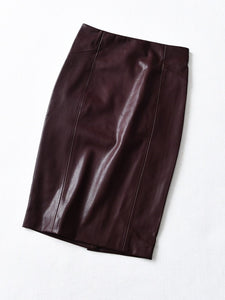 Leather Pencil Midi Skirt for Women