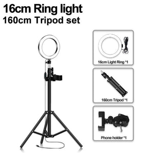 LED Ring Light 16/20/26cm 5600K Dimmable Selfie Ring Lamp With Tripod Phone Holder USB Plug Photo Studio Photography Lighting