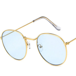 Mirror Metal Round Sunglasses Women