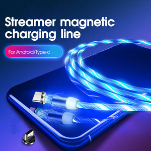 1m Magnetic charging Mobile Phone Cable USB Type C Flow Luminous Lighting Data Wire for Samaung Huawei Xiaomi LED Micro Cable