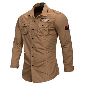 Cotton Military Long Sleeve Casual Shirt