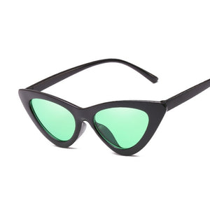 Mirror Black Cat Eye Triangle SunGlasses