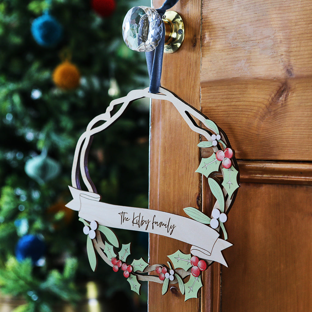 Christmas Wreath with personalised banner