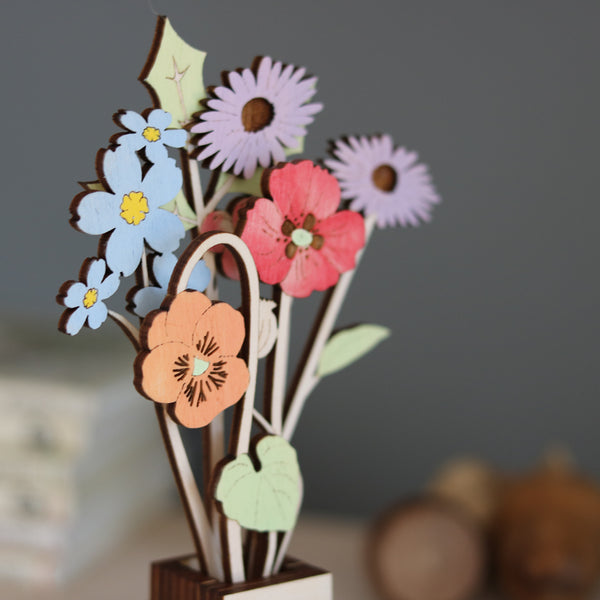 Personalised Family Flowers in its own wooden Pot