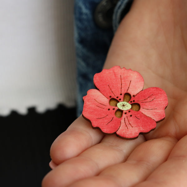 Hand painted Poppy Brooch