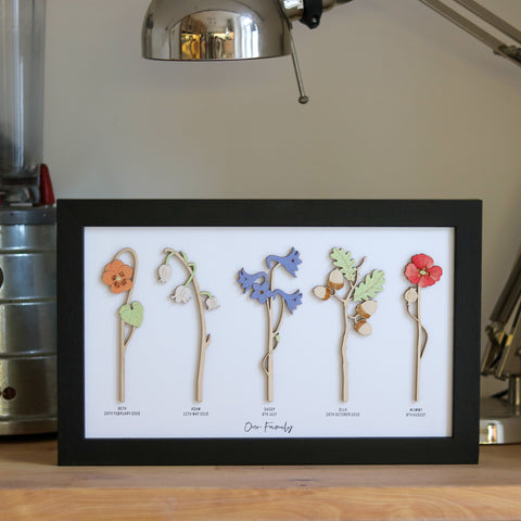 Framed Personalised Family Birth Flowers
