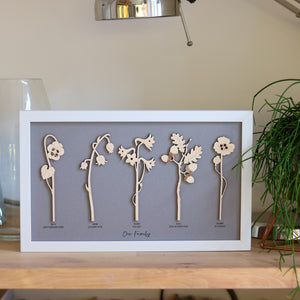 Framed Personalised Family Birth Flowers in natural wood