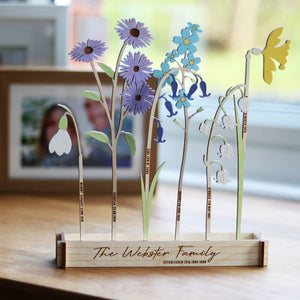 Betsy & Els Wooden Personalised Family Birth Flowers