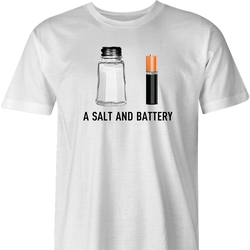 funny pun a salt and battery t-shirt men's white