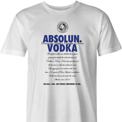 North Korean Absolute Absolun Vodka kim jong un men's white t-shirt