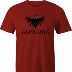 Funny Alf Albania Mashup Men's red t-shirt