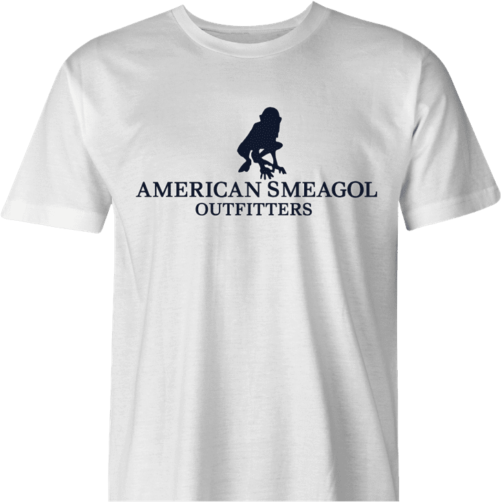 Funny american smeagol lord of the rings men's white t-shirt